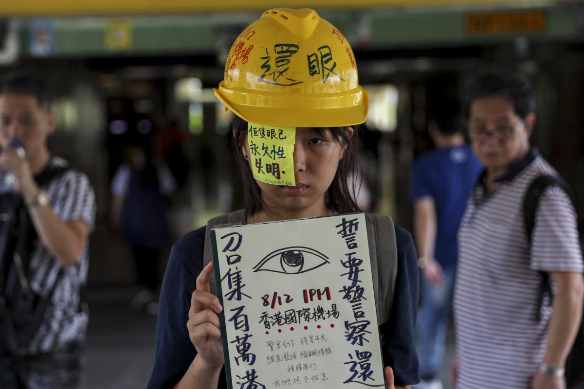 Protesters plan to descend on Hong Kong airport again for a demonstration on Monday, stirred by a woman being shot in the eye on Sunday. Photo: Sam Tsang