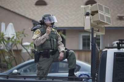 A Los Angeles police officer stands by a sound cannon at a demonstration in Anaheim – Chinese scientists say they have taken the technology to a new level. Photo: AFP