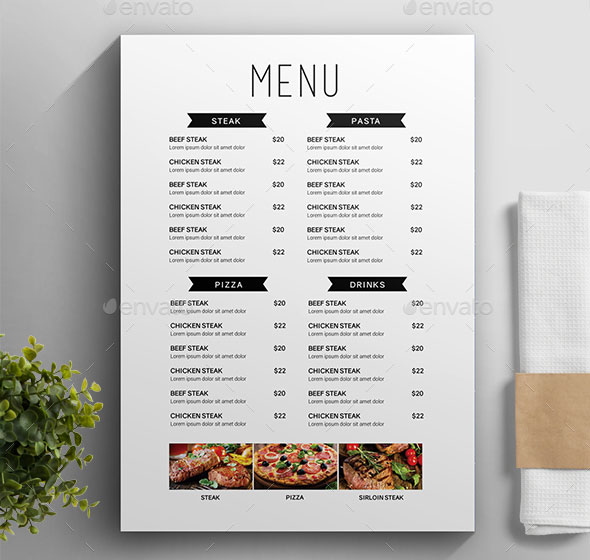 25 Awesome Typographic Restaurant Menu Templates Print