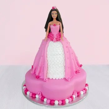Barbie doll shaped cake in blue dress, which is decorated with blue roses. Princess Barbie Cake 5 Kg Gift Send Single Pages Gifts Online Hd1112528 Igp Com