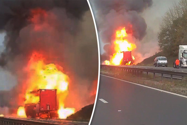 Huge lorry fire on the M1