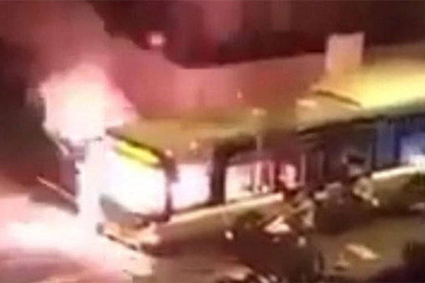 Paris bus on fire