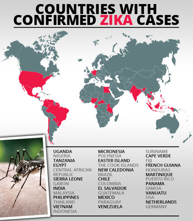 A map showing the spread of the Zika virus