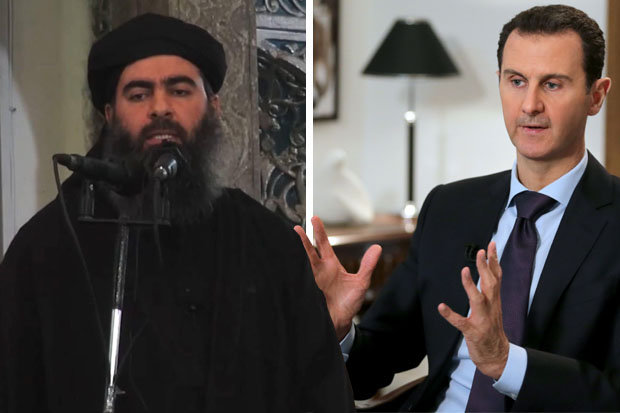 Abu Bakr al-Baghdadi, left, Bashar al-Assad, right