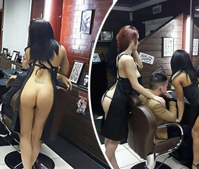 Nude Strippers Offer To Trim Hair At A Barbers