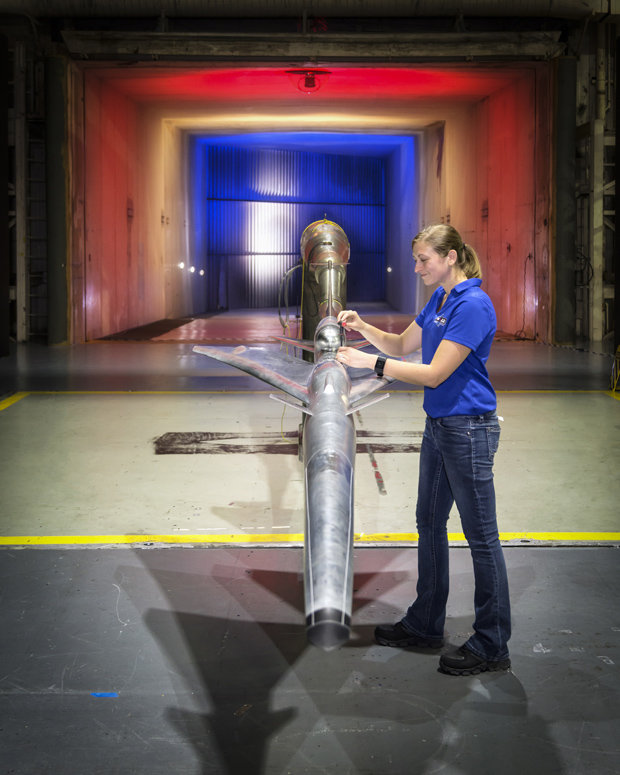 A QueSST prototype is tested in a wind tunnel