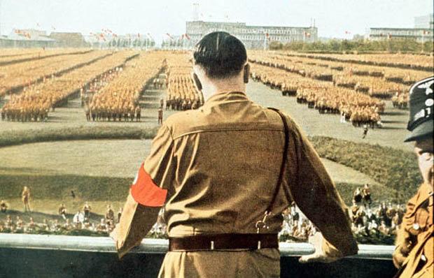 Adolph Hitler addressing a crowd