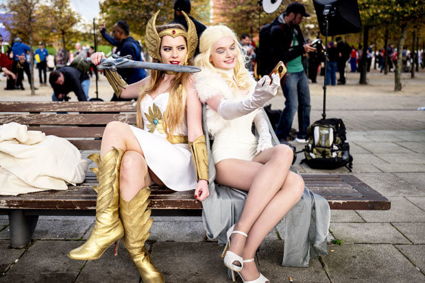 She-Ra and Emma Frost posed for pictures