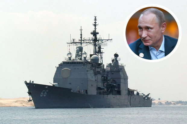 USS Hue City and Vladimir Putin