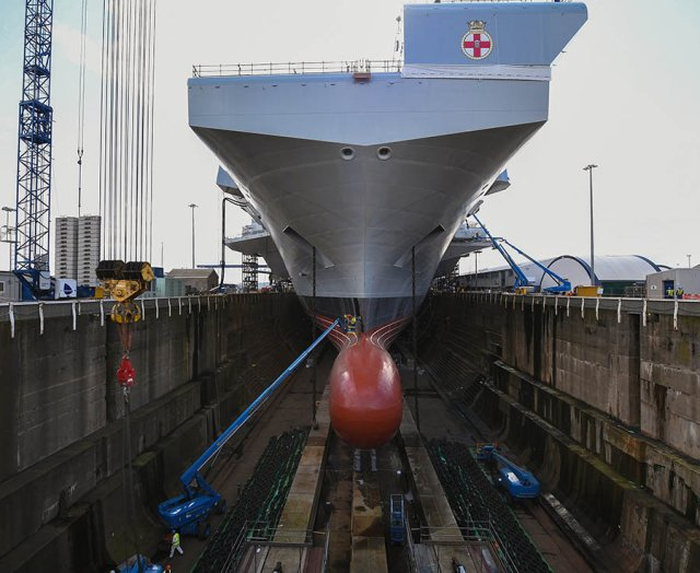 Work continues inside the operations room on board the HMS Prince of Wales the second of the Queen Elizabeth