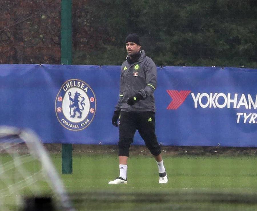Diego Costa trains alone