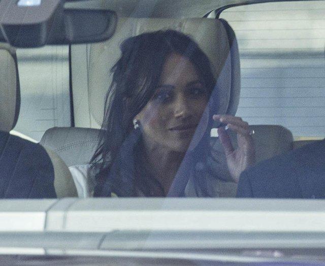Meghan Markle arrives at Windsor Castle for the royal wedding rehearsal