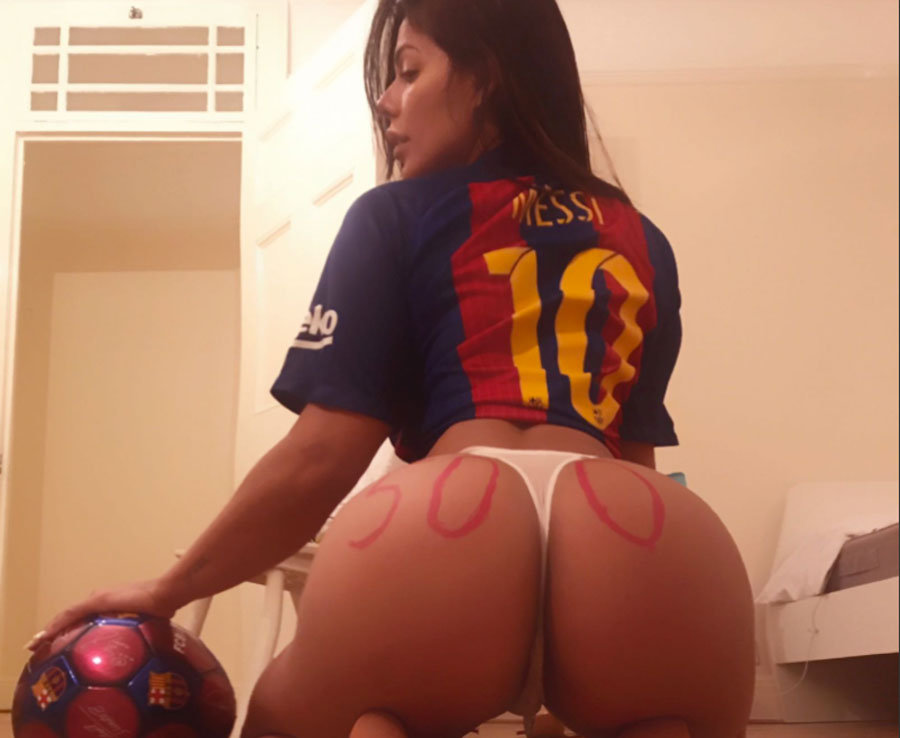 Miss Bum Bum's very sexy tribute to Barcelona star Lionel Messi after 500th goal