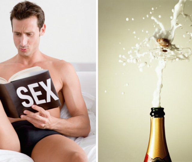 Man In Bed And Champagne Bottle