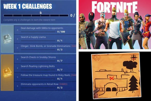 Fortnite Season 5  Floating Lightning Bolts  Risky Reels Treasure     Fortnite Season 5 Week 1 Challenges  How To Solve Lightning Bolts and Risky  Reels Map