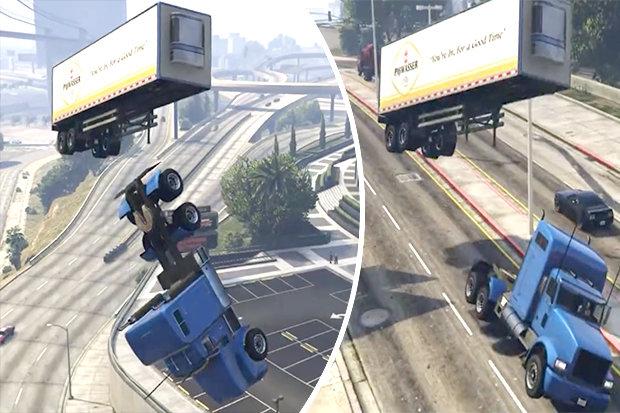 The truck flips mid-jump