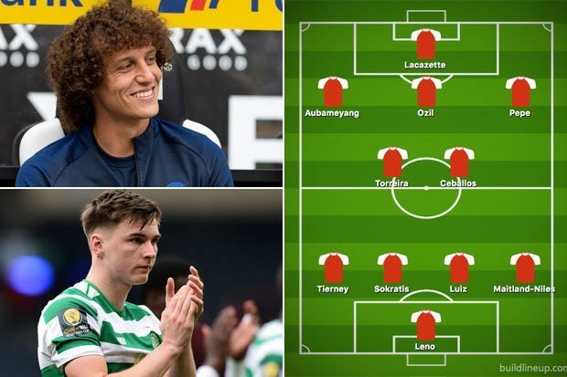 Arsenal are set to sign David Luiz and Kieran Tierney - so how could they fit into Emery's XI?