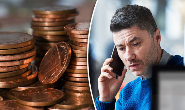 Coins and a man on the phone