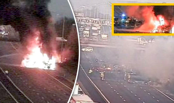 M25 motorway HGV fire traffic