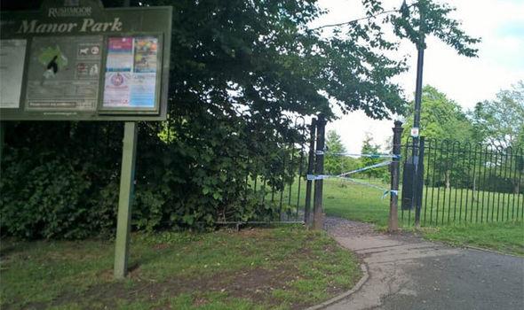 Police cordoned off an area of Manor Park, Aldershot