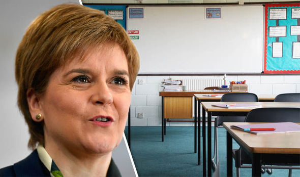 Nicola Sturgeon and an empty classroom