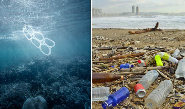 Plastic pollution in the sea and on a beach