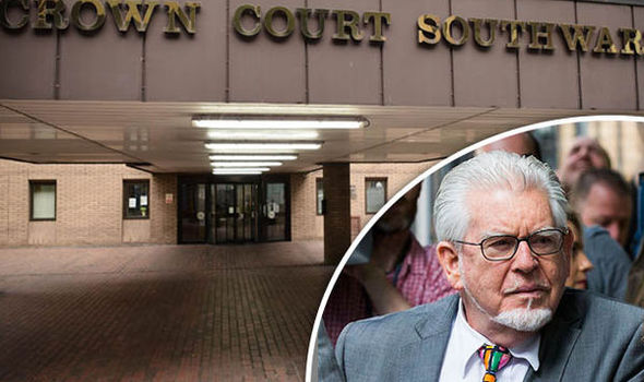 Rolf Harris being tried at Southwark Crown Court