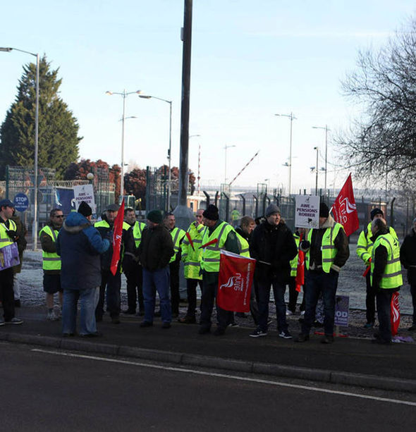 AWE workers on the picket line