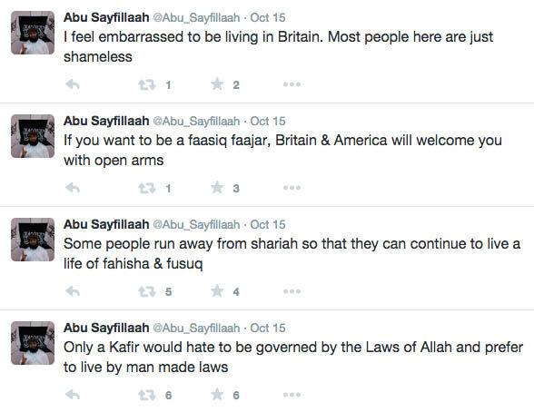 A screenshot from Abu Sayfullaah's Twitter account