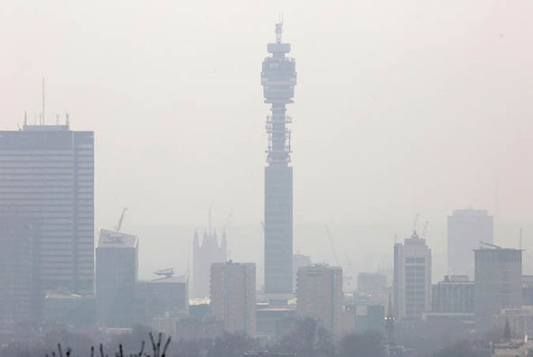 Heavy pollution over London