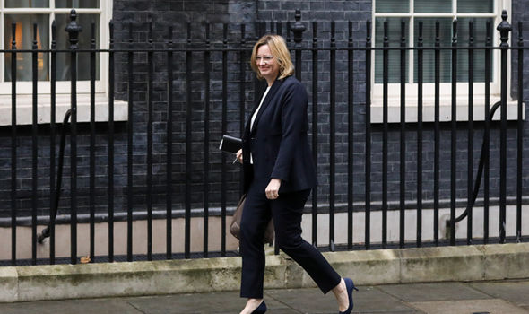 Amber Rudd arrives at Downing Street ahead of a cabinet meeting on Tuesday