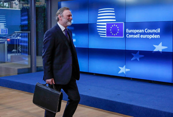 Britain's ambassador to the EU Tim Barrow arrives at the EU Council