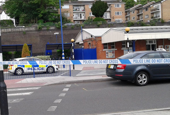 Police cordoned off High Wycombe station