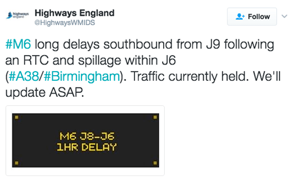 Twitter update from Highways England
