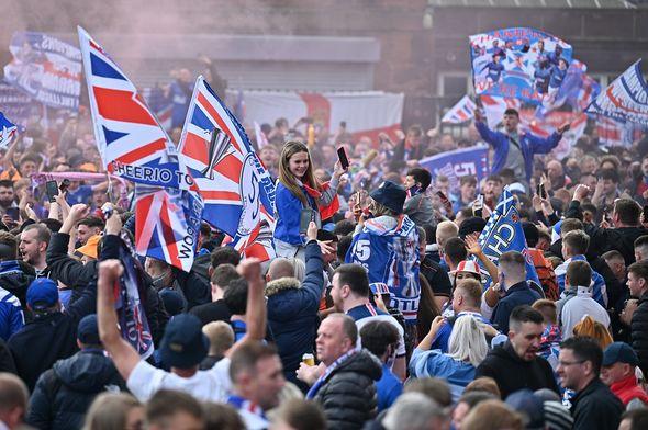 Hundreds of Glaswegians celebrated the football