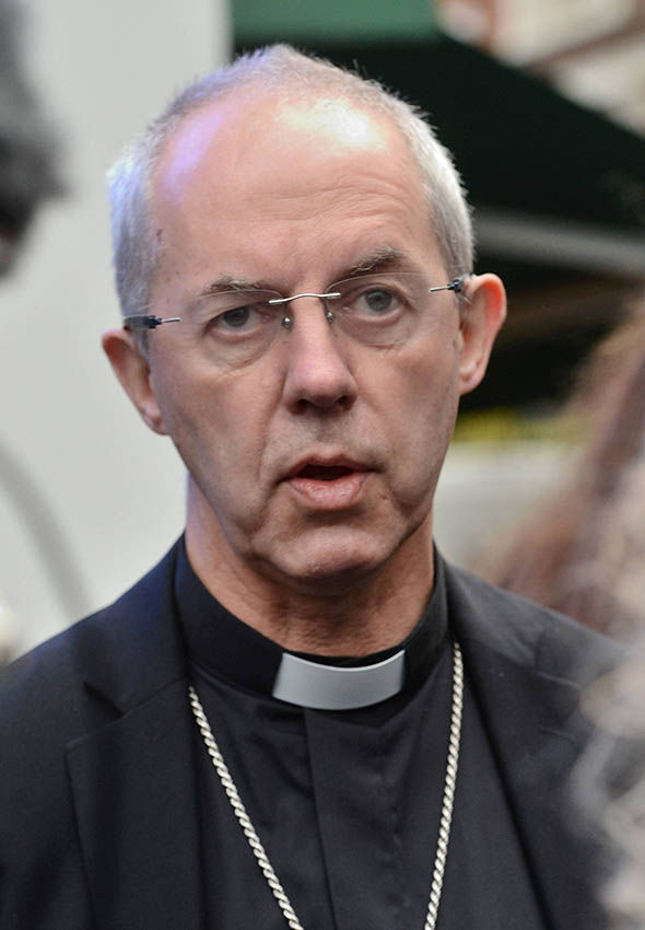 Justin Welby speaking to the media in London