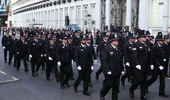 Officers arrive for the funeral in London