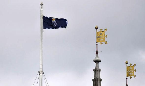 Metropolitan Police flag at Southwark Cathedral