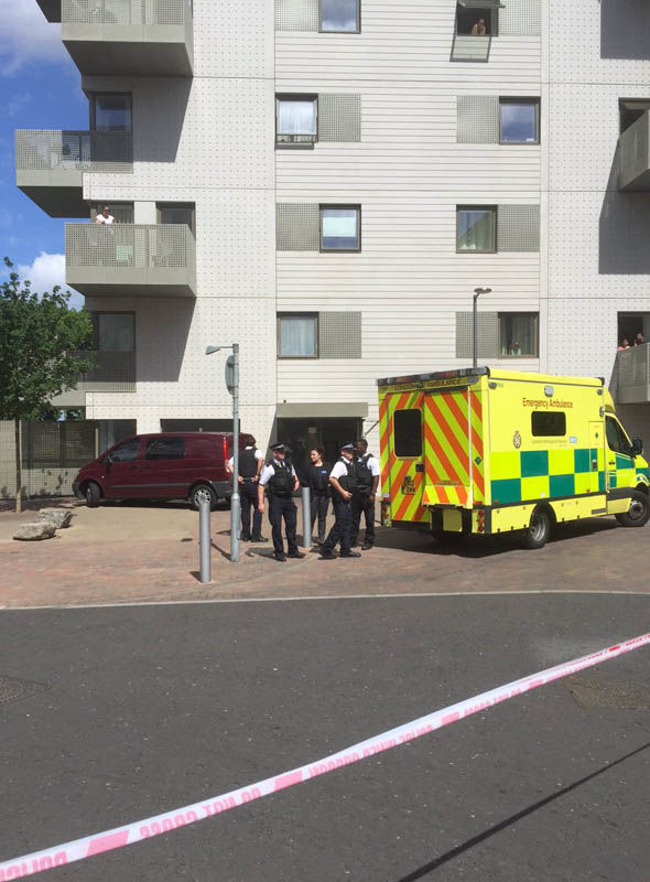 POLICE CORDON AT FLATS IN BARKING