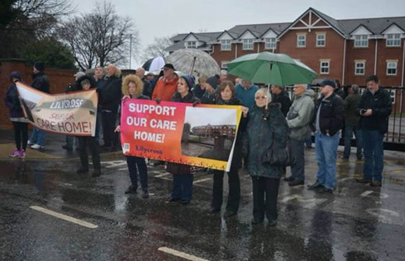 Residents outside the Lilycross Care Centre