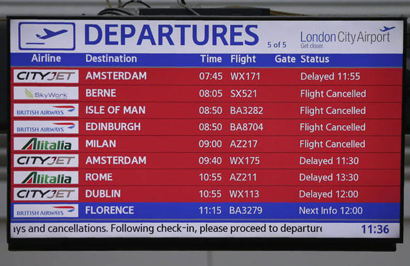 London City airport departures