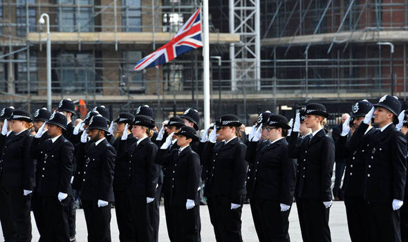 Police mark attack with flag at half mast