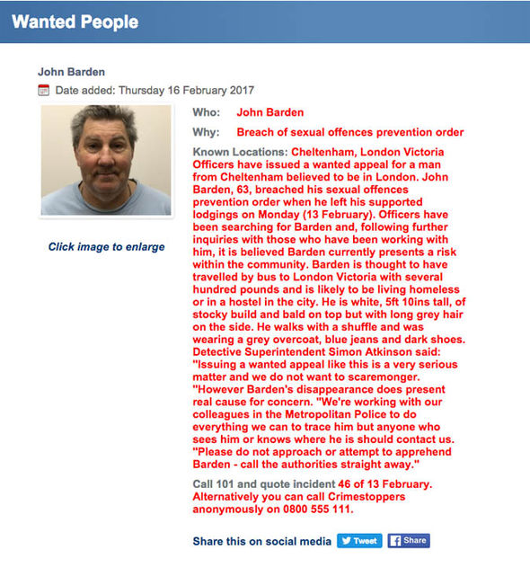 John Barden Gloucestershire police wanted page