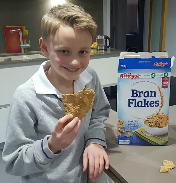 Oscar's father sent a photo of the giant bran flake to Kellog's in the hope of receiving a free box