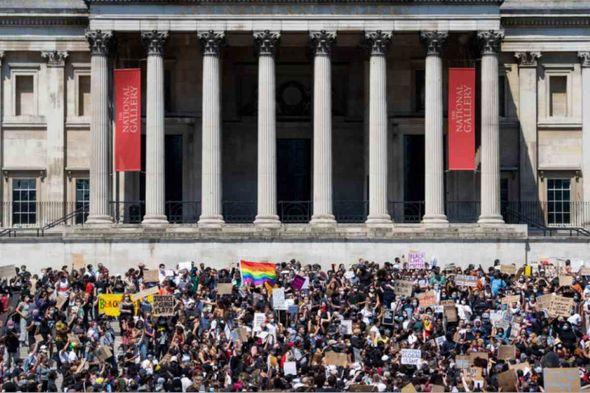People rally in Trafalgar Square