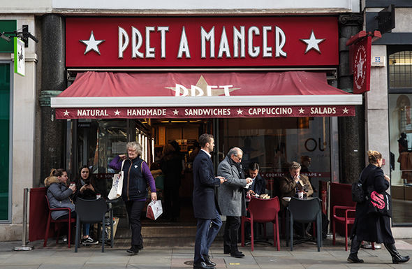 Pret a Manger store on a British high street