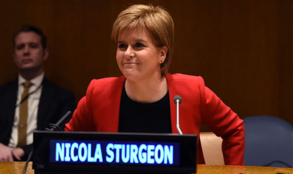 Sturgeon gave the speech to a packed room at the UN headquarters in New York