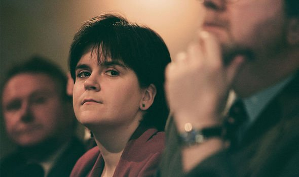 Sturgeon history: A young Sturgeon at an SNP conference in the Nineties