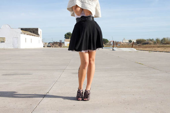 Woman in mini-skirt