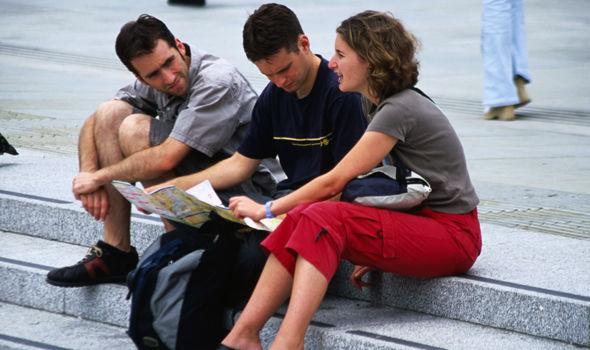 Tourists at Trafalgar Square